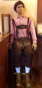 """Photo caption: Bavarian Inn Restaurant's very own mannequin mascot, """"Fritz,"""" who's been delighting restaurant guests for nearly 30 years, and is now eligible for retirement to a good home. He is one of the most photographed """"people"""" in the restaurant."""