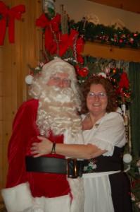 Santa visits the Bavarian Inn Restaurant.