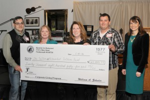 Caption: Jan 4, 2016 check presentation from Bavarian Inn Company Giving Program to the Fallen and Wounded Soldiers Fund: (l. to r.) Sgt. Jason Gomez, Kathy Walstad (Giving Program chair), Lynn Phillips from the FWSF, Cpl. Bobby Irish, and Amy Zehnder-Grossi (Bavarian Inn general manager). Photo by Rummel Studios.